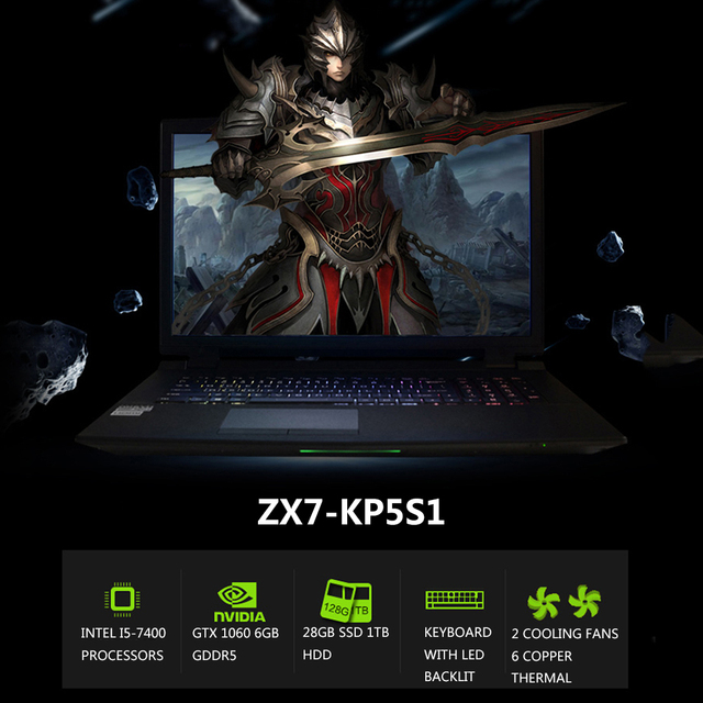 HASEE ZX7-KP5S1 Laptop Notebook PC 15.6″ 1920*1080 HD Display for Intel i5-7400 Processors GTX1060 8GB DDR4 1TB HDD 128G SSD