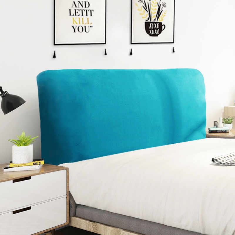 Modern Brief Style Lake Blue Elastic Cloth Dust-proof Bed Head Cover/Backrest Cover/ Fully enclosed Protective Cover