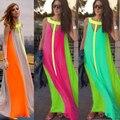 Las mujeres del verano 2016 ocasional del verano maxi dress largo remiendo flojo bohemia playa vestidos de contraste de color maxi dress
