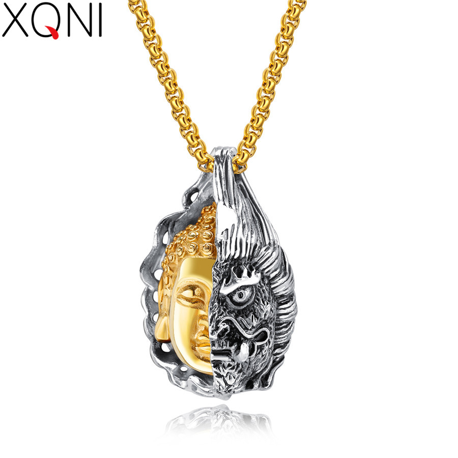 XQNI Special Good And Evil Buddha Head Statue Ghost Stainless Steel Pendant Necklace For Men Box-chain Jewelry Gift For Gift