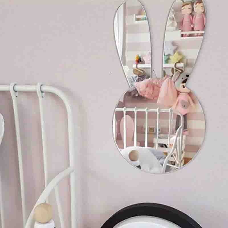 Ins Rabbit Crown Wall Sticker Acrylic Mirror Wall Stickers Home Decor Living Room Self-Adhesive Stickers Kids Room Decoration