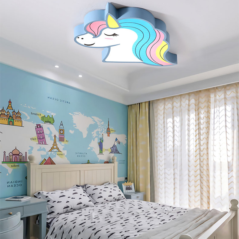Image 5 - Unicorn kids room light led ceiling lights with remote control cartoon lampshade children room cute ceiling lamp deco child room-in Ceiling Lights from Lights & Lighting