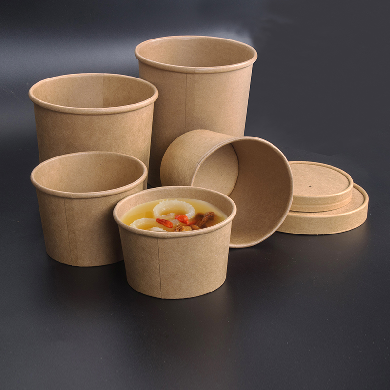 Cowhide Paper Packing Box Circle Soup Bowl Disposable Lunch Box Good Quality Thickening Paper Bowl With Lid