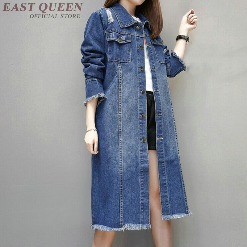 Jean   jacket   2018 women female long sleeve autumn winter   basic     jackets   coat fashion blue ladies women denim   jacket   DD1290