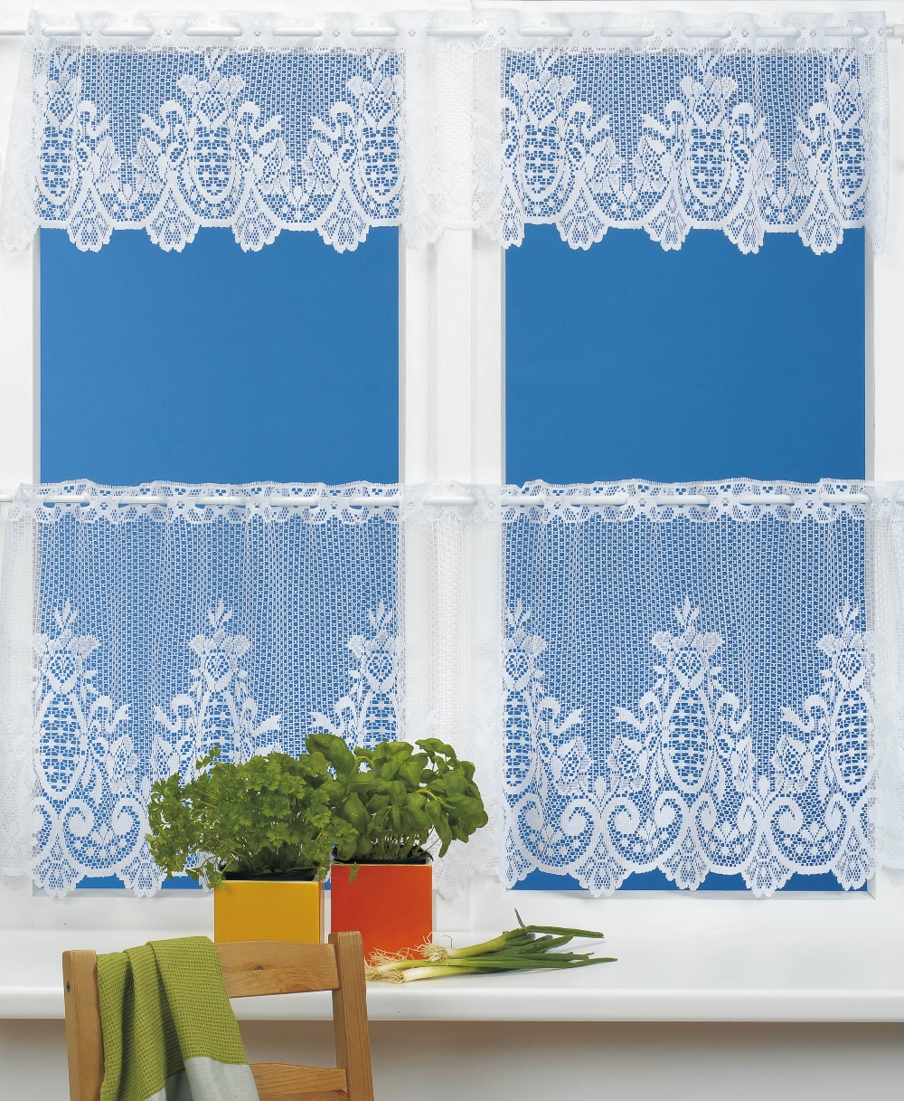 White Lace Kitchen Cafe Curtains Country