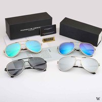 Police Men's Polarized Round face Sunglasses Outdoor Driving Metal Mirror Sun Glasses Vintage UV400 Rectangle Glasses with Case