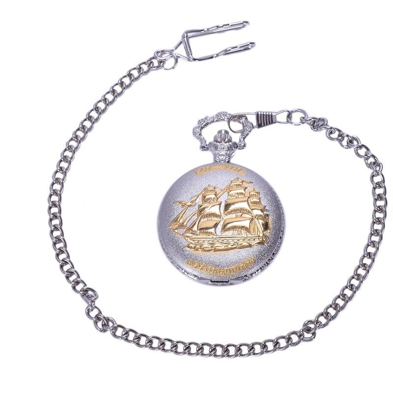 Bronze Sailing Canvas Boat Necklace Pocket Chain Quartz Pendant Watch