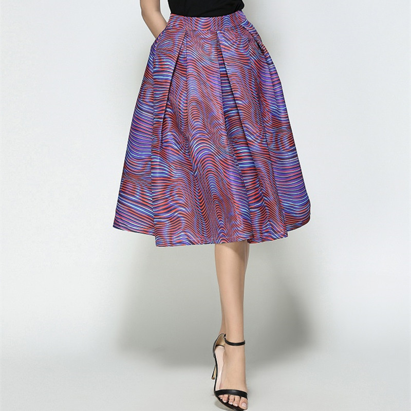 7023dbeb782 Faldas Vintage 2018 Elegant Pleated Skirt Casual High Waist Purple Jupe  Femme Printed Striped Saias Midi Skirts Ladies Office -in Skirts from  Women s ...