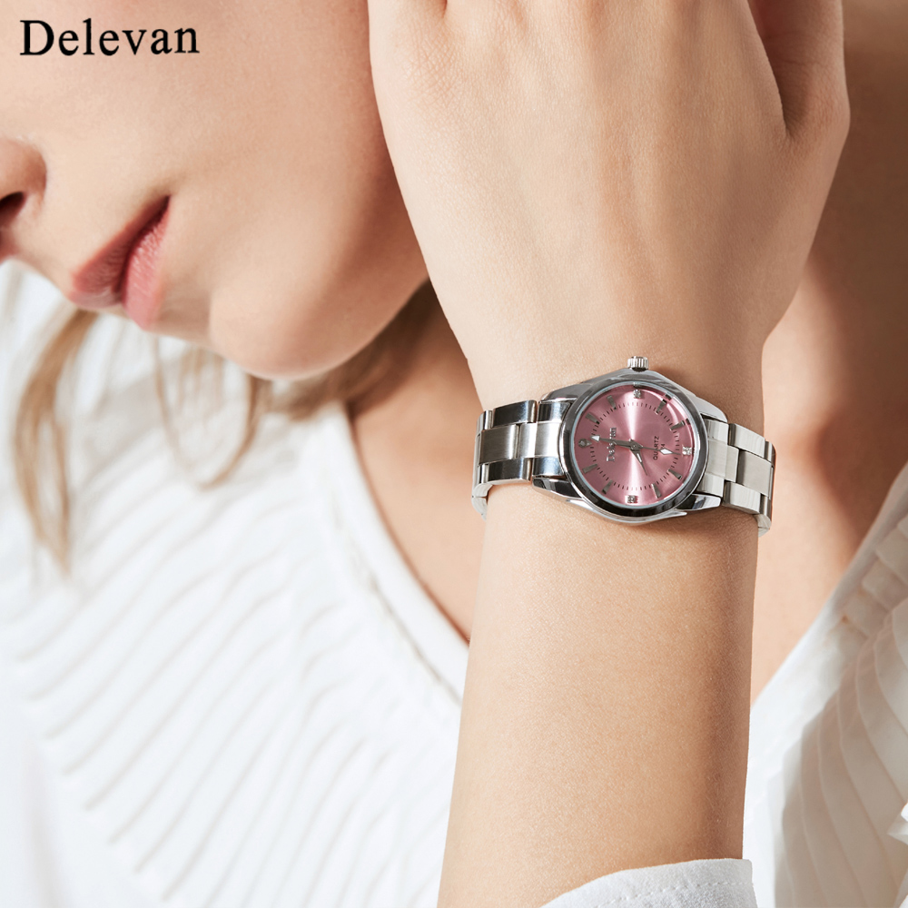 Delevan Women Watches Luxury Brand Fashion Quartz Ladies Rhinestone watch Dress waterproof Watch Casual Clock relogio feminino famous brand sinobi women leather dress watches ladies luxury casual quartz watch relogio feminino female rhinestone clock hours