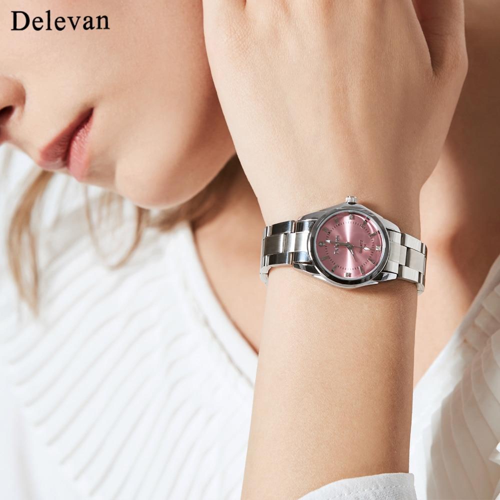 Delevan Women Watches Luxury Brand Fashion Quartz Ladies Rhinestone watch Dress waterproof Watch Casual Clock relogio feminino