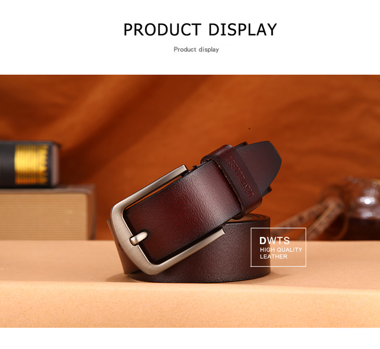 Mens Belts Luxury 100/% Top Cow Genuine Leather Belts High Quality Pin Buckle