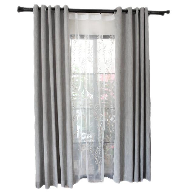 Moderne Simple Gris Tissu Rideau D\u0027occultation pour Salon Fenêtre Cuisine  Blanc Brodé Tulle Décoration