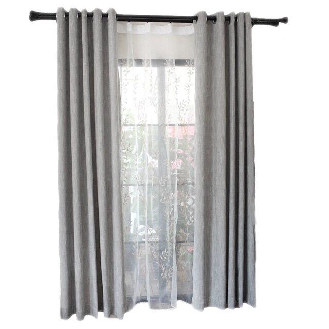 Superbe Moderne Simple Gris Tissu Occultant Rideau Pour Salon Fenêtre Cuisine Blanc  Brodé Tulle Décoration De La