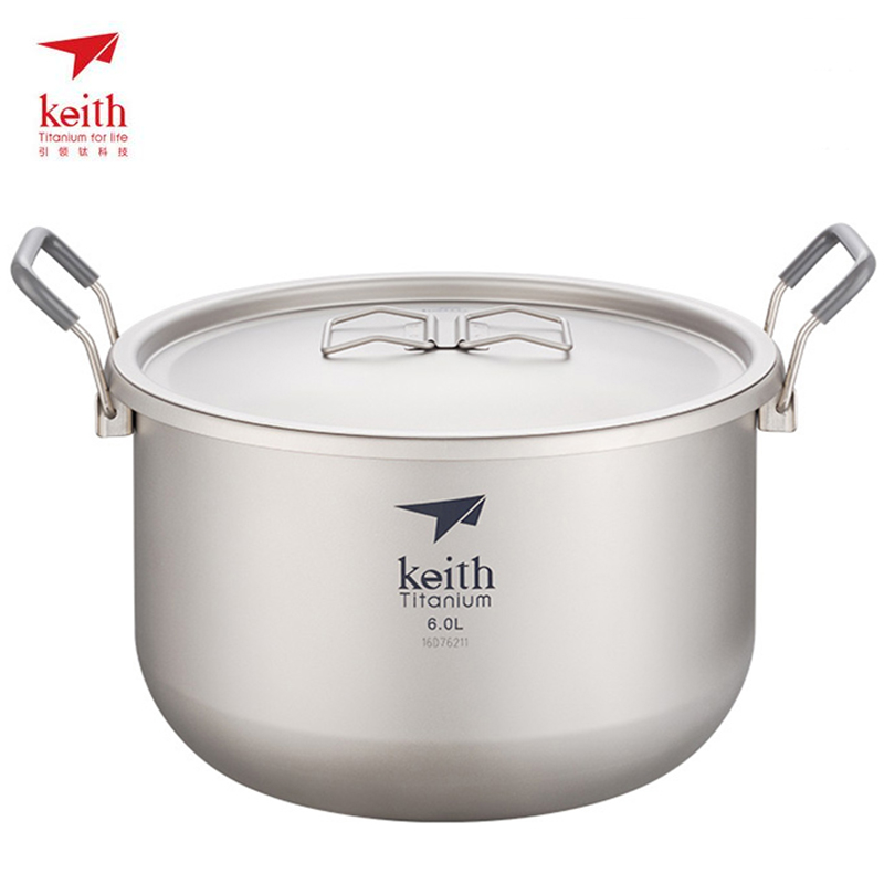 Keith Titanium Pot Utensils For Tourism Outdoor Camping Hiking Traving Hunting Picnic Stockpot 6L Ultralight 870g
