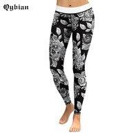 Qybian Gothic Punk Rock Xà Cạp Đen trắng 3D Flower hộp sọ lớn In Ấn Sexy Legging Phụ Nữ Chạy Quần Ladies Casual Jegging