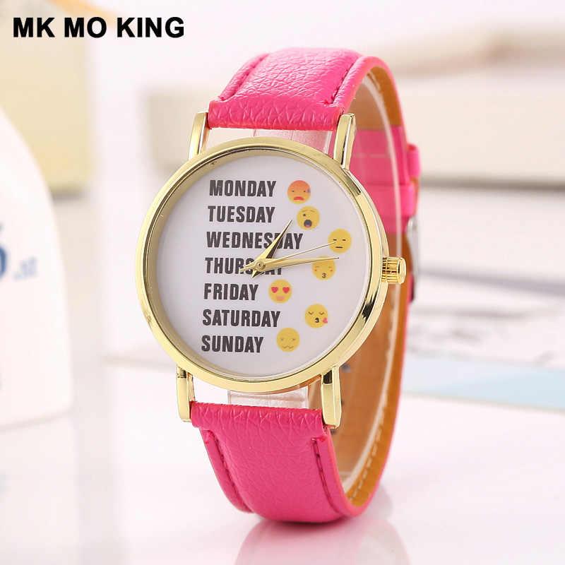 Новые часы женские однонедельные выразительные Искусственные женские наручные часы женские повседневные кожаные кварцевые часы аналоговые наручные часы подарки feminino