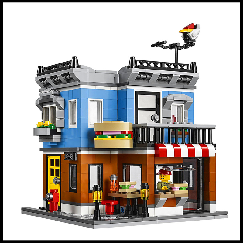 491Pcs City 3 In 1 Corner Deli Model Building Block Toys LEPIN 24007 Construction Figure Gift For Children Compatible Legoe lepin 22001 pirate ship imperial warships model building block briks toys gift 1717pcs compatible legoed 10210