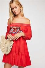 Womens Tunic Dress Bohemian Holiday Casual Flower Embroidery Mini Slash Neck Sexy Loose Boho Pleated Robes