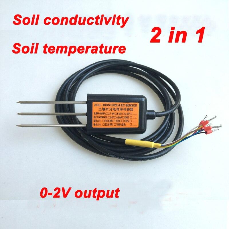 Livraison gratuite EC10 sortie 0-2 V conductivité du sol capteur de température qualité ec conductivité 2IN1 capteur de conductivité