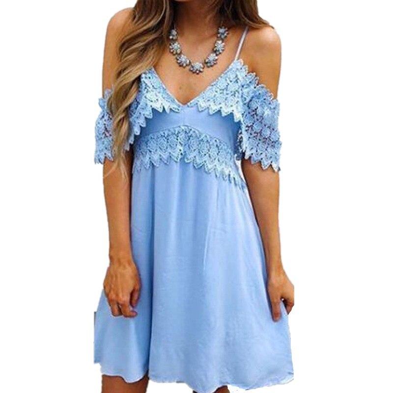 Summer Dress Womens Ladies Beach Party Short Mini Dress V Neck Holiday Floral Lace Short Sleeve Sundress