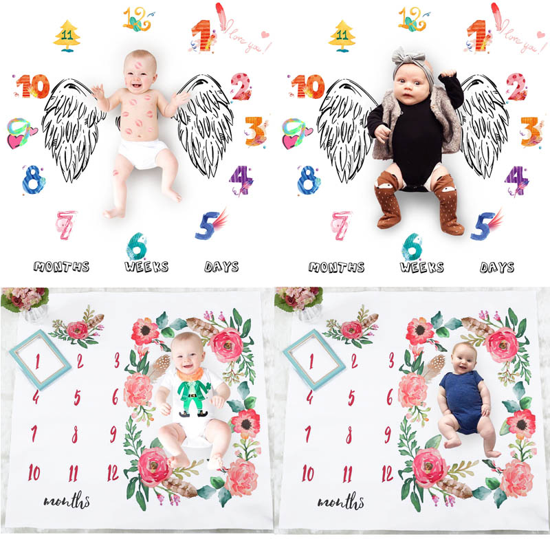 Baby Milestone Blankets Newborn Warm Cotton Swaddle Wrap Baby Blanket Bedding Stroller Photography Prop Baby Blankets Winter