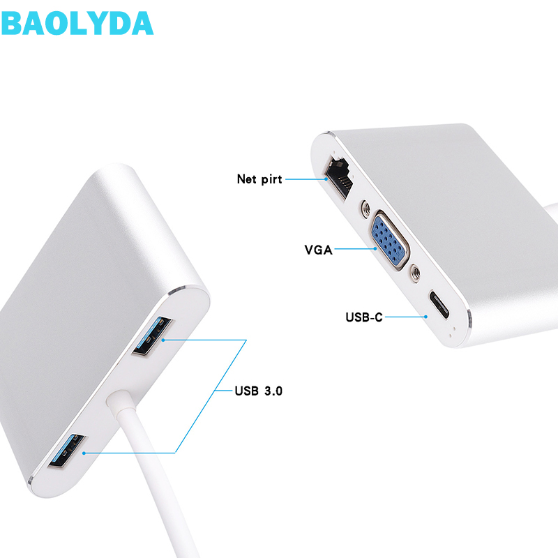 Baolyda USB C HUB Thunderbolt 3 Adapter 5in1 USB-C Multiport Adapter With 4K HDMI Ethernet VGA USB3.0 For Macbook & USB-C Laptop