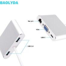 Baolyda USB C HUB Thunderbolt 3 Adapter 5in1 USB-C Multiport Adapter with 4K HDMI Ethernet VGA USB3.0 for Macbook & USB-C Laptop адаптер moshi usb c multiport adapter silver 99mo084204