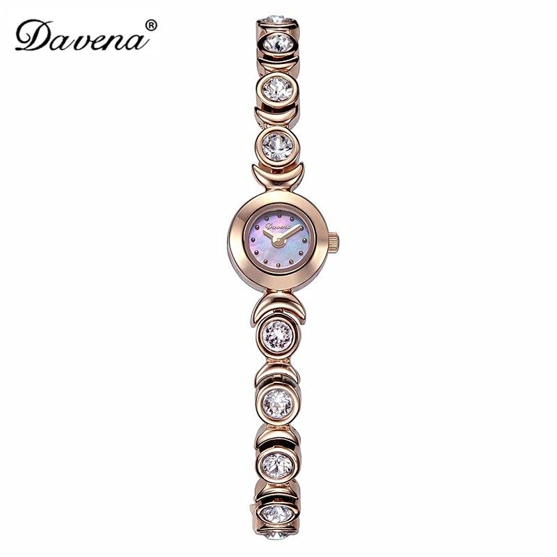Роскошные Davena женские Мини наручные часы Элегантные в виде ракушки Стразы модные часы Кристалл платье браслет для вечеринки девушка подарок на день рождения