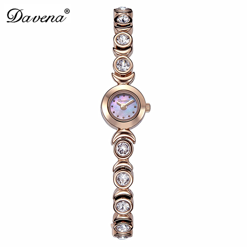Luxury Davena Lady Woman Mini Wrist Watch Elegant Shell Rhinestone Fashion Hours Crystal Dress Bracelet Party Girl Birthday Gift julius lady women s wrist watch elegant shell rhinestone business fashion hours dress bracelet leather girl birthday gift 676