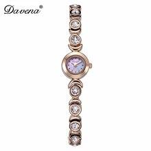 Luxury Davena Lady Woman Mini Wrist Watch Elegant Shell Rhinestone Fashion Hours Crystal Dress Bracelet Party Girl Birthday Gift
