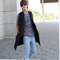HOT ! NEW 2016 Spring and Autumn clothjing men Manufacturers selling club stage vest sleeveless long slim jacket with large code