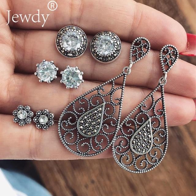 4 Pairs/Set Women Crystal Bohemian Earring Stud Earrings for Women Boucle D'oreille Jewelry Dazzling Cubic Zirconia Opal Brincos 2