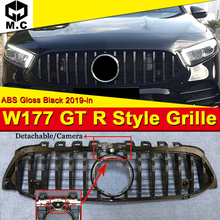 W177 A Class GT R Style grille grill ABS Black With Camera Sports A160 A180 A200 A250 A45 look Front Grills Without Sign 2019-in