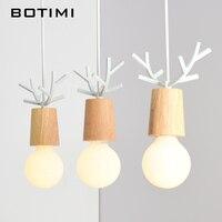 BOTIMI American Wooden LED Pendant Lights For Dining Kitchen Lustres White Black Metal Hanging Lamp E27