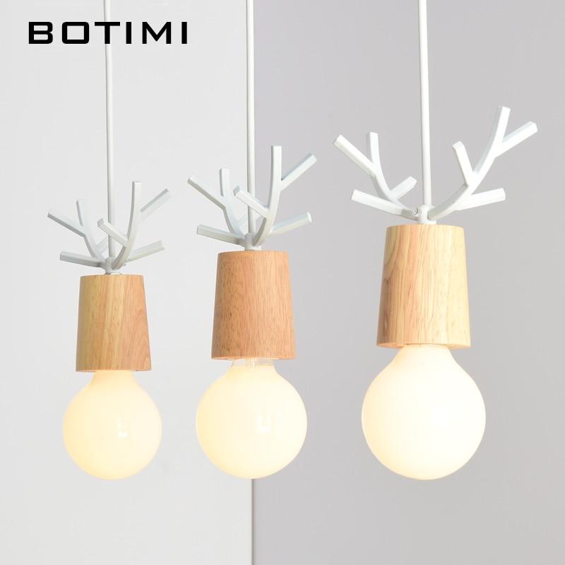 BOTIMI American Wooden LED Pendant Lights For Dining Kitchen Lustres White Black Metal Hanging Lamp E27 Kitchen Lighting Fixture