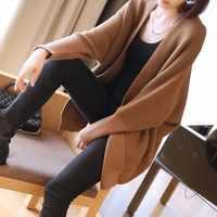 LANMREM 2019 Lente Nieuwe vrouwen Batwing Lange Mouwen Gebreid Vest Koreaanse Vrouwelijke Lange Mouw Comfortabele Tops Vestido YG421