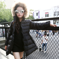 Hooded Girls Coats And Jackets Winter 2016 Long Girl Jackets Girls Outerwear Coats Pink Red Black