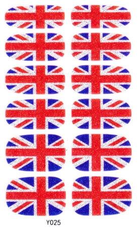 Manicure Glitter Decor Foil Decals Adhesive Nail Art Stickers Uk British Flag Design Full Cover