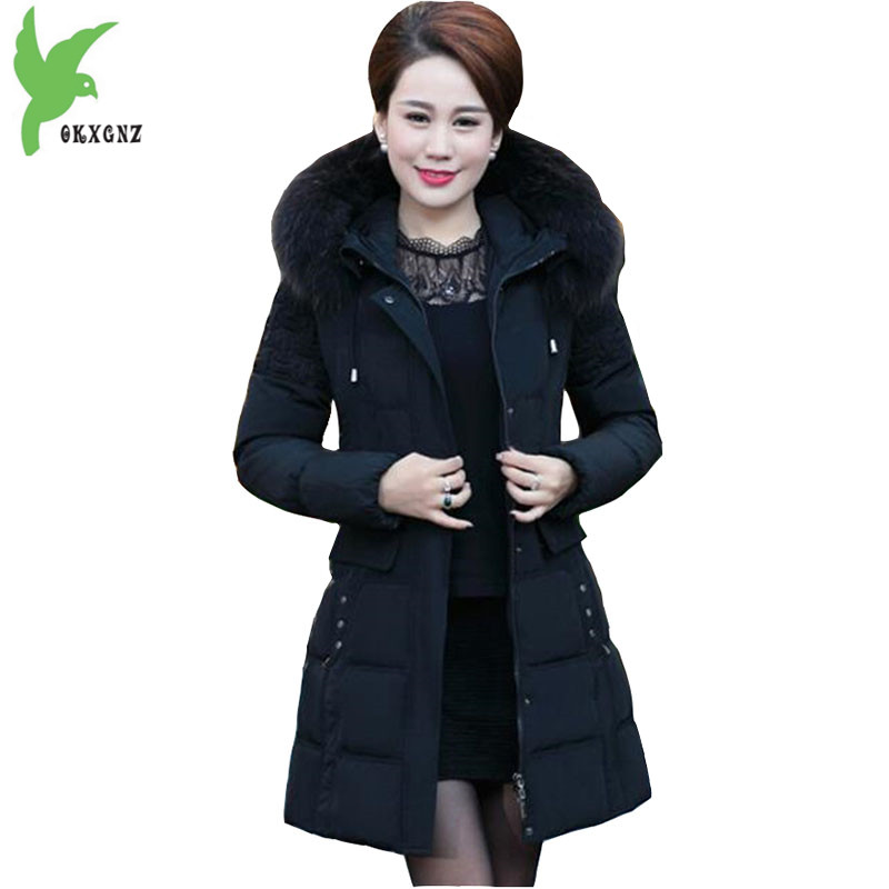 Plus size 6XL Middle aged Women Jacket Coats Winter Down cotton Parkas Thicker Hooded Raccoon fur collar Warm Jackets OKXGNZ1144 middle aged women winter cotton jackets thick warm parkas plus size mother cotton coats hooded fur collar outerwear okxgnz a1238