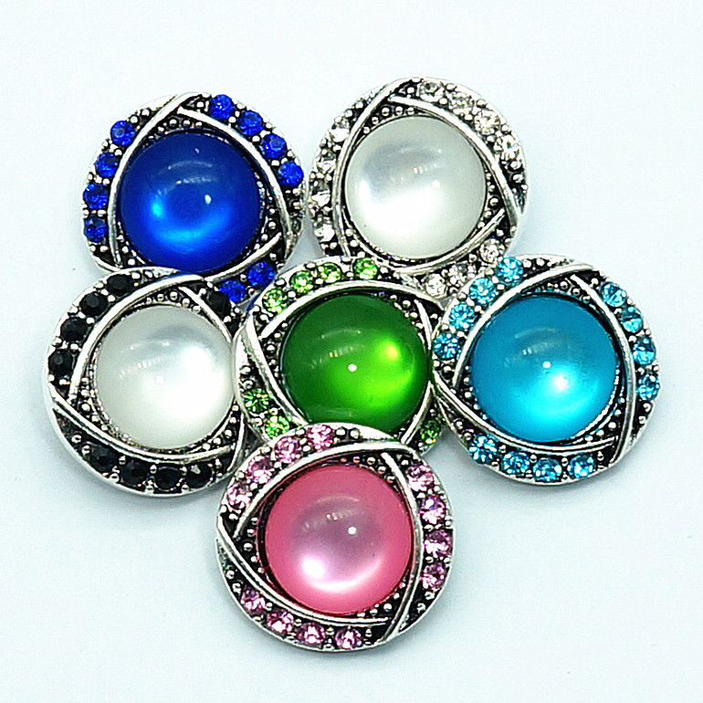 New KZ3161 Beauty Rhinestone round rhinestone colorful 20MM snap buttons fit 18mm snap jewelry wholesale royalbeier 8pcs mixed soft clay stretched beaded snap bracelet 20mm fit 18mm snap button 20mm snap bracelet snap jewelry sz0487