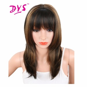 Deyngs 20'' Synthetic Women's Wigs Black Mix Brown Color Heat Resistant Naturally African American Hair With Bangs Free Shipping