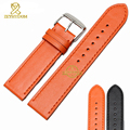 Fashion Genuine leather bracelet plain watchband Soft and comfortable black orange color Wrist strap 23mm watch accessories