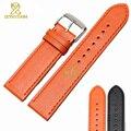 Genuino de moda pulsera llanura correa de reloj suave y cómodo negro color naranja correa para la muñeca 23 mm reloj accesorios