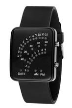 New LED Digital Binary Dial Silicone Wristwatch