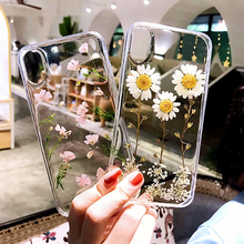 Real Flowers Dried Flower Phone Case For iphone 7 6 8 plus X XS MAX XR Handmade Clear Soft Transparent Cover