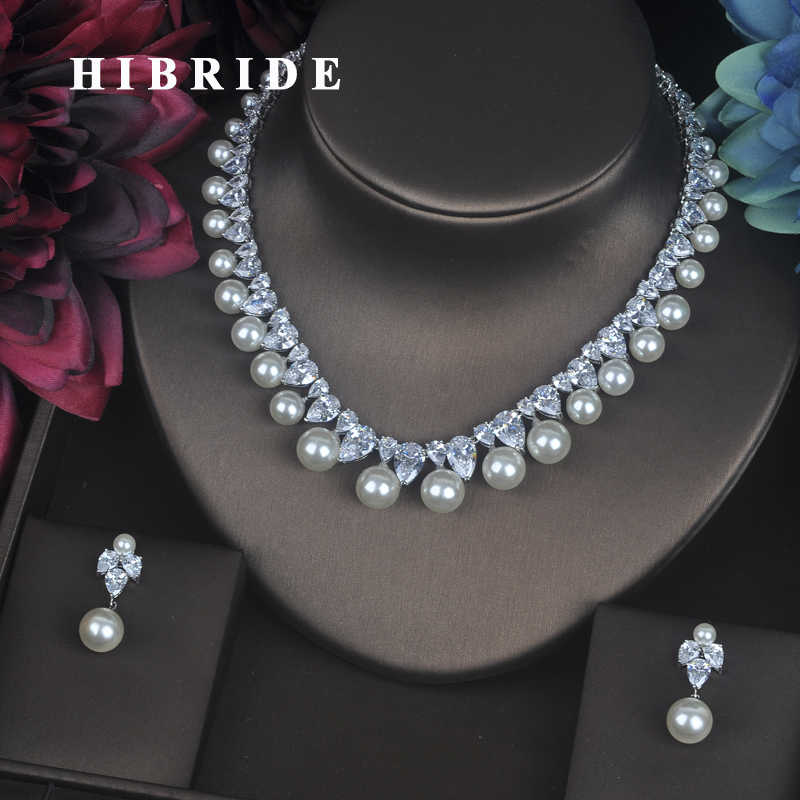 HIBRIDE Luxury Design Simulated Pearl Link Chain Women Wedding Jewelry Sets ,Gold color AAA Cubic Zirconia Set For Bridal N-157