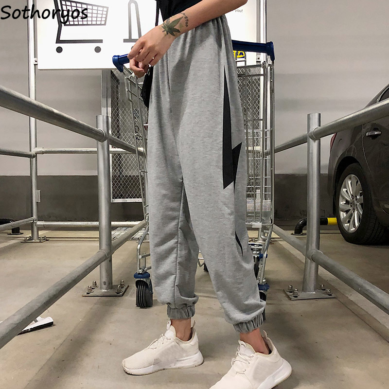 Pant Women Printed Loose Elastic Waist Leisure Harem Pant Womens Hip Hop Korean Style Thin Simple All-match Trousers Students