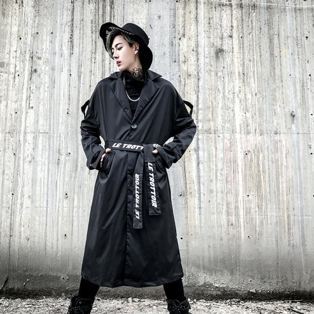 High Street Fashion Long Trench Jacket for Men Windbreaker Coat Male Punk Hip Hop Casual Loose Trench Overcoat