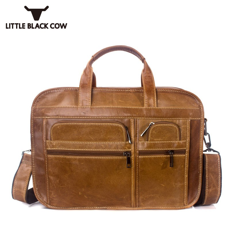 Sacs à bandoulière classiques britanniques hommes cuir de vache travail fourre-tout sacs à main de luxe hommes sacs Designer fermeture à glissière souple grands sacs à main sac solide