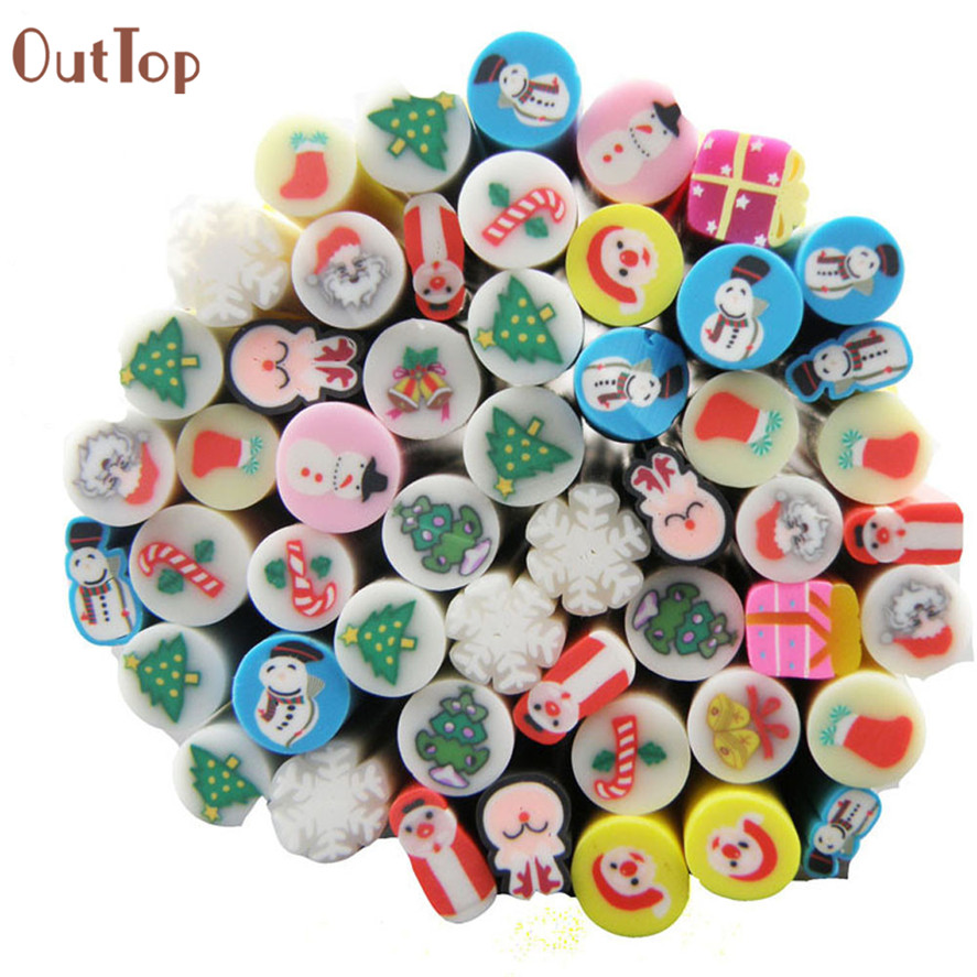 New Brand Nail Decorations OutTop 50pcs Christmas Mix Fimo Clay Slice Nail Art Tips Acrylic Decoration Manicure Tools Pretty 50 pcs sweet cartoon rabbit pattern fimo canes nail art decorations